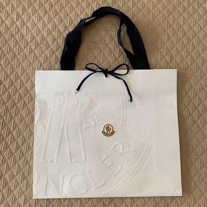 Authentic Moncler White Logo Gift Bag Navy Ribbon